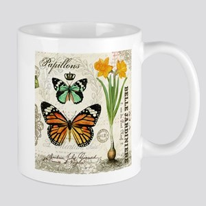 Modern Vintage Butterflies and Daffodils Mugs